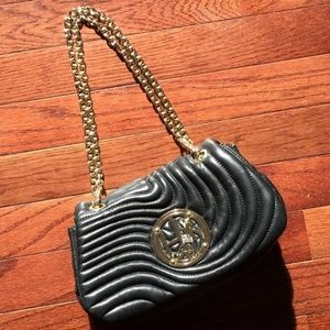 Henri Bendel No. 7 Black Leather Purse Gold Chain